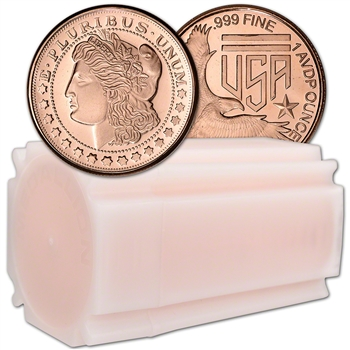 1 oz. Silver Towne Mint Copper Round Morgan Design .999 Fine Tube of 16