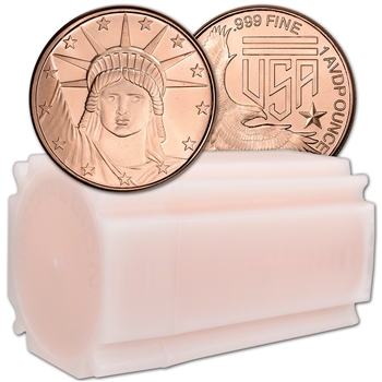 1 oz. Silver Towne Mint Copper Round Statue of Liberty .999 Fine Tube of 16
