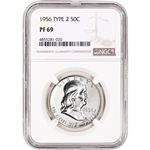 1956 US Franklin Silver Half Dollar Proof 50C - Type 2 - NGC PF69