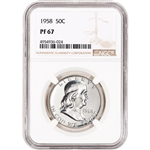 1958 US Franklin Silver Half Dollar Proof 50C - NGC PF67