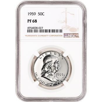 1959 US Franklin Silver Half Dollar Proof 50C - NGC PF68