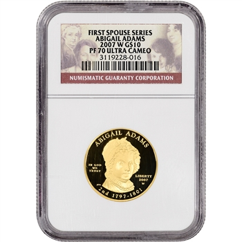 2007-W US First Spouse Gold (1/2 oz) Proof $10 - Abigail Adams - NGC PF70 UCAM