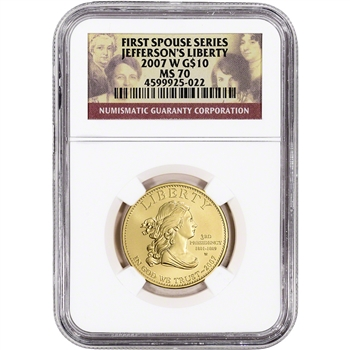 2007-W US First Spouse Gold 1/2 oz BU $10 - Thomas Jefferson's Liberty NGC MS70