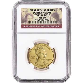 2008-W US First Spouse Gold 1/2 oz BU $10 - Louisa Adams NGC MS70