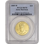 2009-W US First Spouse Gold 1/2 oz BU $10 - Anna Harrison PCGS MS70