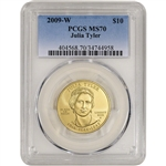 2009-W US First Spouse Gold 1/2 oz BU $10 - Julia Tyler PCGS MS70
