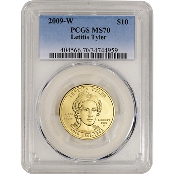 2009-W US First Spouse Gold 1/2 oz BU $10 - Letitia Tyler PCGS MS70
