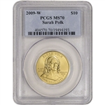 2009-W US First Spouse Gold 1/2 oz BU $10 - Sarah Polk PCGS MS70