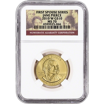 2010-W US First Spouse Gold 1/2 oz BU $10 - Jane Pierce NGC MS70
