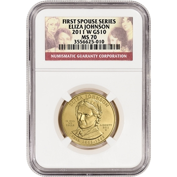 2011-W US First Spouse Gold (1/2 oz) BU $10 - Eliza Johnson - NGC MS70