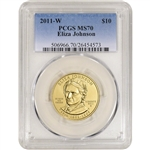 2011-W US First Spouse Gold 1/2 oz BU $10 - Eliza Johnson PCGS MS70