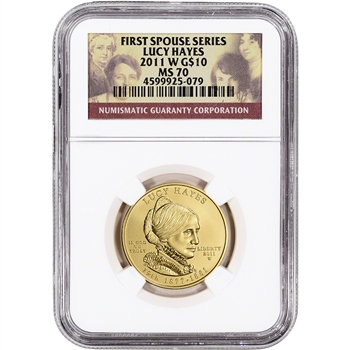 2011-W US First Spouse Gold 1/2 oz BU $10 - Lucy Hayes NGC MS70