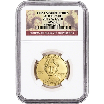 2012-W US First Spouse Gold 1/2 oz BU $10 - Alice Paul NGC MS69