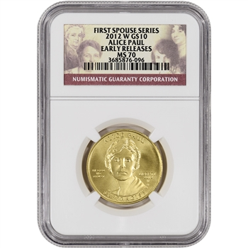 2012-W US First Spouse Gold (1/2 oz) BU $10 - Alice Paul - NGC MS70 ER