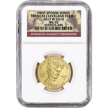 2012-W US First Spouse Gold 1/2 oz BU $10 - Frances Cleveland 1st Term NGC MS70