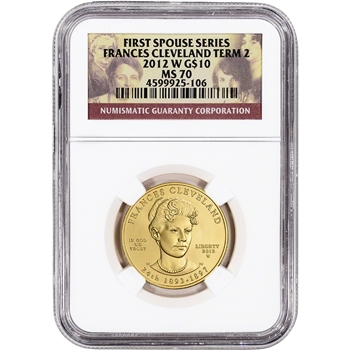 2012-W US First Spouse Gold 1/2 oz BU $10 - Frances Cleveland 2nd Term NGC MS70