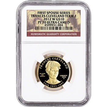 2012-W US First Spouse Gold 1/2 oz Proof $10 Frances Cleveland 2nd Term NGC PF70