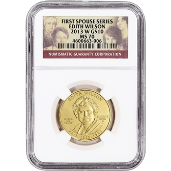 2013-W US First Spouse Gold 1/2 oz BU $10 - Edith Wilson NGC MS70