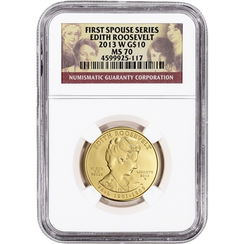 2013-W US First Spouse Gold 1/2 oz BU $10 - Edith Roosevelt NGC MS70