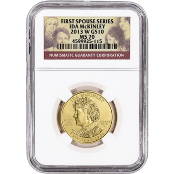 2013-W US First Spouse Gold 1/2 oz BU $10 - Ida McKinley NGC MS70
