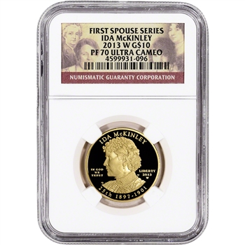 2013-W US First Spouse Gold 1/2 oz Proof $10 - Ida McKinley NGC PF70