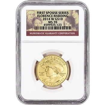 2014-W US First Spouse Gold 1/2 oz BU $10 - Florence Harding NGC MS70