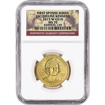 2015-W US First Spouse Gold 1/2 oz BU $10 - Jacqueline Jackie Kennedy NGC MS70