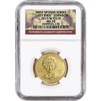 2015-W US First Spouse Gold 1/2 oz BU $10 - Lady Bird Johnson NGC MS70