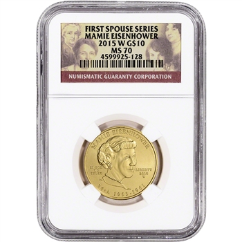 2015-W US First Spouse Gold 1/2 oz BU $10 - Mamie Eisenhower NGC MS70