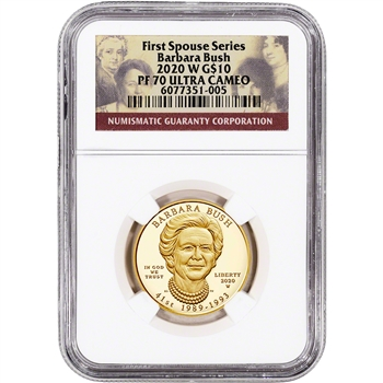 2020 W US First Spouse Gold 1/2 oz Proof $10 - Barbara Bush NGC PF70 UCAM