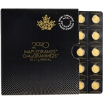 2020 25x1 gram Gold Maplegram25 - RCM Royal Canadian Mint - .9999 Fine in Assay