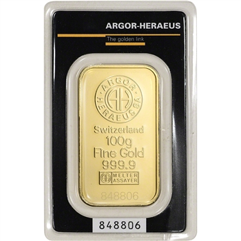100 gram Gold Bar - Argor Heraeus - 999.9 Fine in Assay