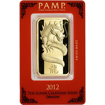 100 gram Gold Bar - PAMP Suisse - Lunar Year of the Dragon - 999.9 Fine in Assay