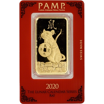 100 gram Gold Bar - PAMP Suisse - Lunar Year of the Rat - 999.9 Fine in Assay