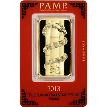 100 gram Gold Bar - PAMP Suisse - Lunar Year of the Snake - 999.9 Fine in Assay