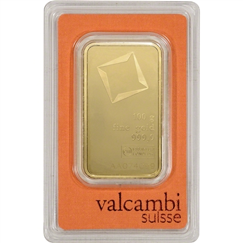 100 gram Gold Bar - Valcambi Suisse - 999.9 Fine in Sealed Assay