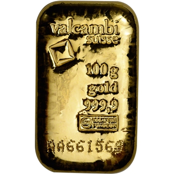 100 gram Gold Bar - Valcambi Suisse - Cast - 999.9 Fine with Assay Certificate