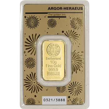 10 gram Gold Bar - Argor Heraeus 2020 Lunar Year of the Rat 999.9 Fine in Assay