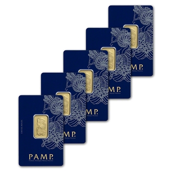 10g PAMP Suisse Fortuna 999.9 Fine Gold Bar 5-Pack in Assay