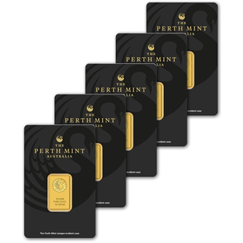 FIVE (5) 10 gram Gold Bar - Perth Mint - 99.99 Fine in Assay