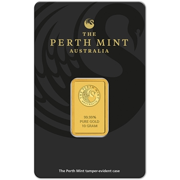 10g Perth Mint 99.99 Fine Gold Bullion Bar in Assay