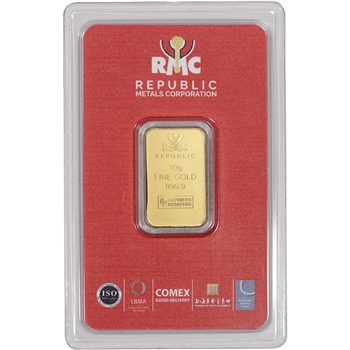 10 gram RMC Gold Bar - Republic Metals Corp - 999.9 Fine in Sealed Assay