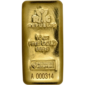 10 oz. RMC Gold Bar - Republic Metals Corp - 999.9 Fine (Cast)