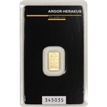 1 gram Gold Bar - Argor Heraeus - 999.9 Fine in Assay