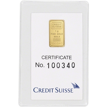1 gram Gold Bar - Credit Suisse - Statue of Liberty - 999.9 Fine in Sealed Assay