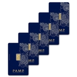 1 gram Gold Bar - PAMP Suisse - Fortuna - 999.9 Fine in Sealed Assay - Five 5 Bars