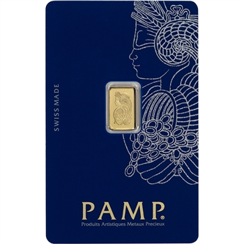1g PAMP Suisse Fortuna 999.9 Fine Gold Bullion Bar in Assay