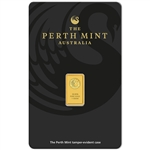 1 gram Perth Mint 99.99 Fine Gold Bullion Bar in Assay