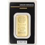 1 oz. Gold Bar - Argor Heraeus - 999.9 Fine in Assay