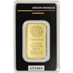 1 oz. Gold Bar - Argor Heraeus Kinebar Hologram - 999.9 Fine in Assay